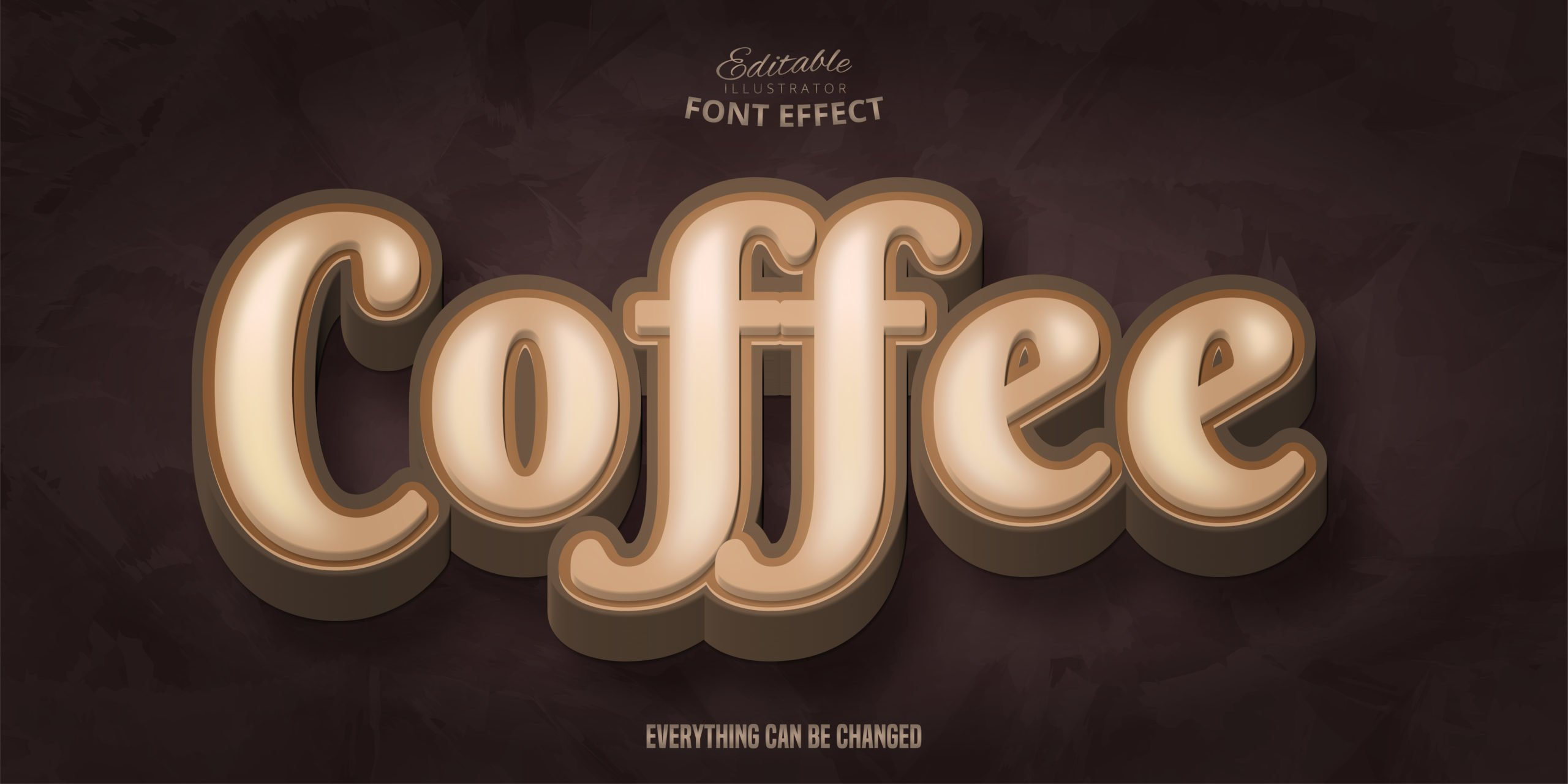 Coffee text, 3d editable font effect